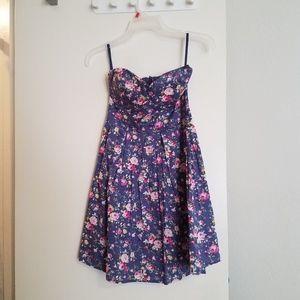 Strapless floral, empire waist dress